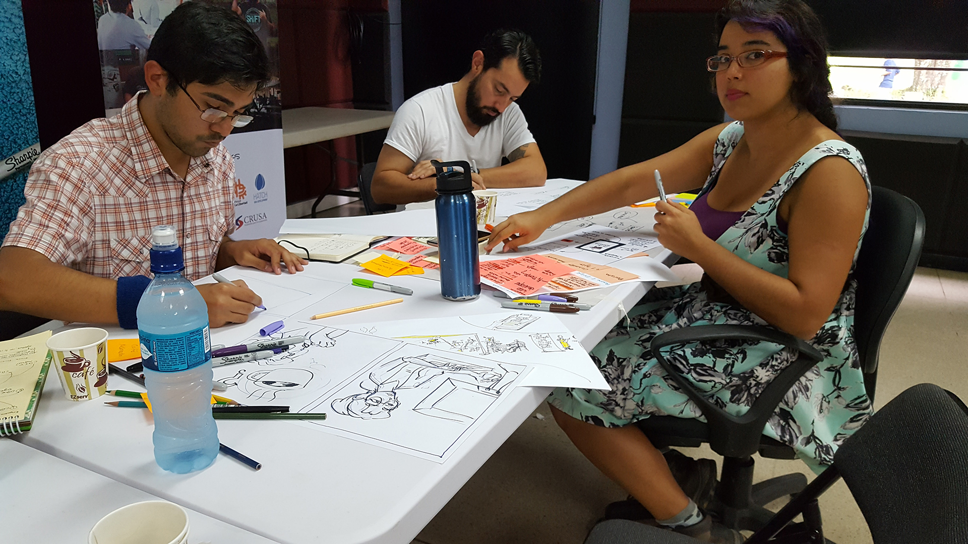 """Partner: Hatch/Sketching Lab Date & Location: October 26-28, 2017 / La Libertad Park, San Jose, Costa Rica Participants: Around 20 multidisciplinary group of college students in various design fields / professional designers: industrial, graphic, architecture/ educators/government workers / social workers __ ages ranged from early 20s-60s Overview: Partnering with Hatch/Sketching Lab in San Jose Costa Rica, Aether co-hosted a 3-day Lab that focused on visual communication and the creative thinking process. The intent was to help take an idea to reality following innovative methodologies in a very hands-on, activity-driven approach. The Lab's primary objective was to promote and foster entrepreneurship and creativity of the participants to develop and create successful businesses from innovative ideas. Targeted for the entrepreneurs, business managers, designers, architects, craftsmen, creatives, students and professionals in business and all those interested in learning new ways to communicate their innovative ideas quickly and effectively. Topic: The Story of Coffee Kickoff: Sketch Aerobics: basic exercises. Lose fear and forget frustrations, learn to communicate your innovative concepts with visualization techniques. (exercises and sketching with music) Presentation: (José Gamboa) Basic drawing techniques, Mind Mapping techniques (organization of concepts and ideas using word association strategies). Design process: problem, research, concept, and solution. How to incorporate """"emotional design"""" into your proposal or business. Knowing ourselves better, the participants will form teams to perform basic exercises. Each group will have the opportunity to develop a business idea, in digital or a physical concept Presentation: (Owen Foster) Following the """"Lean Startup"""" methodology, """"Pencil to prototype"""": a practical workshop that visualizes the complexity of the creative process, divides it into smaller, more manageable tasks and allows participants to accept the failur"""